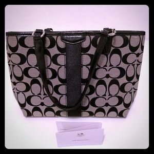 COACH SIGNATURE STRIPE TOP HANDLE TOTE  (F51156)